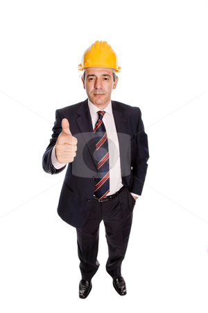 Architect stock photo, An engineer with yellow hat, isolated on white by Rui Vale de Sousa
