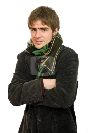 Winter stock photo, Studio picture of a young man dressed for winter by Rui Vale de Sousa