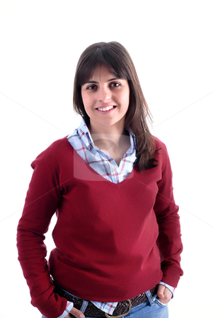 Woman stock photo, Woman portrait smiling isolated on white background by Rui Vale de Sousa