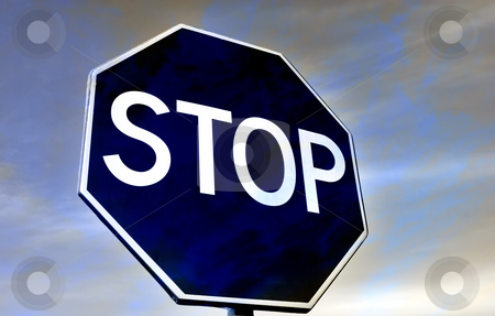 Stop stock photo, Road traffic sign and the sky toned blue by Rui Vale de Sousa