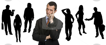 Thoughts stock photo, Young business man portrait with people silhouettes by Rui Vale de Sousa