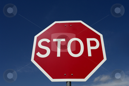 Stop stock photo, Red stop sign with the sky as background by Rui Vale de Sousa