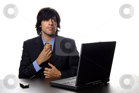 Working stock photo, Young active man and working with is laptop by Rui Vale de Sousa