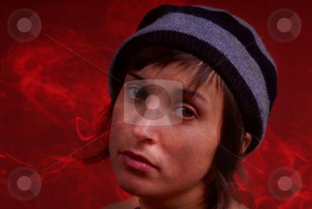 Smoke stock photo, Young woman close up portrait among smoke by Rui Vale de Sousa