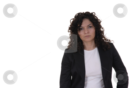 Portrait stock photo, Young woman portrait standing in a white background by Rui Vale de Sousa