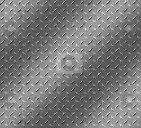 Brushed Chrome stock photo, Interesting lighting on brushed chrome sheet with a raised pattern by Matt Baker