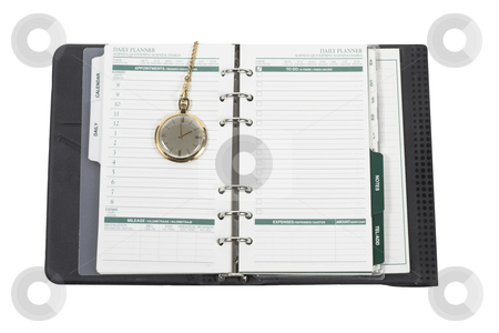 On Time stock photo, A daily planner with a pocket watch by Matt Baker