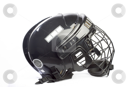 Hockey Helmet stock photo, A generic black hockey helmet with clipping path by Matt Baker