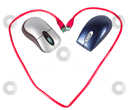 Internet Love stock photo, Two mice inside a heart made of cable by Matt Baker