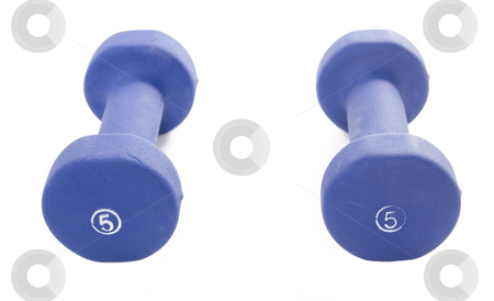 Two hand weights stock photo, Two five pound hand weights isolated on white by Matt Baker