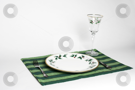 Christmas Dinner  stock photo, A complete place setting for Christmas dinner by Matt Baker