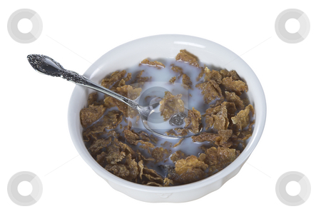 Bowl of cereal stock photo, A bowl of cereal full of raisin bran by Matt Baker