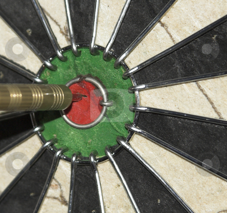 Bullseye stock photo, A dart hits the bullseye by Matt Baker
