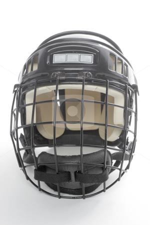 Hockey Helmet stock photo, A head on view of a generic black hockey helmet by Matt Baker