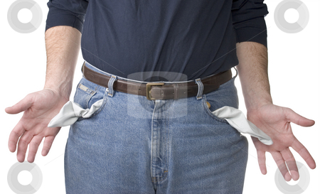 Out of money stock photo, A man shows his empty pants pockets by Matt Baker