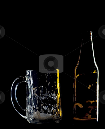 Empty beer stock photo, An empty beer mug and bottle by Matt Baker