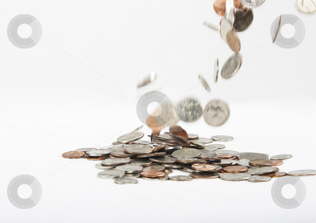Falling money stock photo, Falling change by Matt Baker