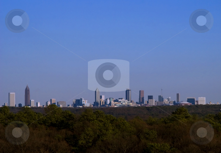 Atlanta Skyline at dusk stock photo, A panarama of the Atlanta skyline at dusk by Matt Baker