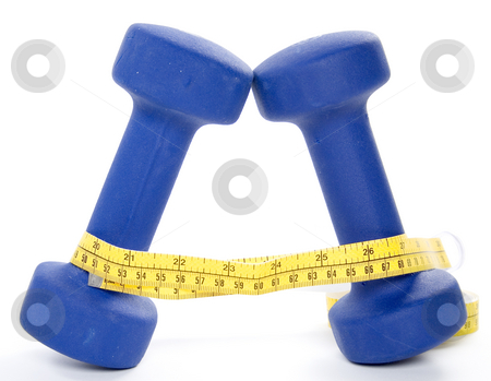Two hand weights with measuring tape stock photo, Two five pound hand weights isolated on white with a measuring tape around them by Matt Baker