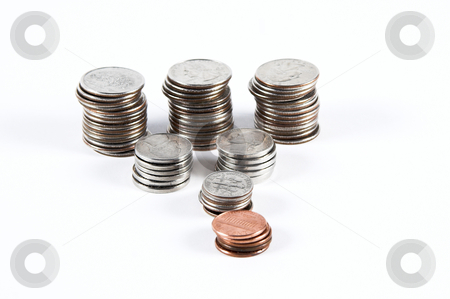 Stacks of loose change stock photo, Stacks of quaters,nickels,dimes and pennies. by Matt Baker