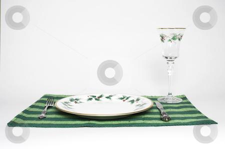Christmas Dinner  stock photo, A complete place setting for Christmas dinner by Matt Baker