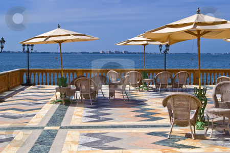 Ringling Mansion Patio stock photo, View of Siesta Key from the patio of Ringling's Mansion in Sarasota, Florida. by Steve Carroll