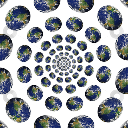 Earth Vortex stock photo, A bunch of planet earths in a circular vortex. by Todd Arena