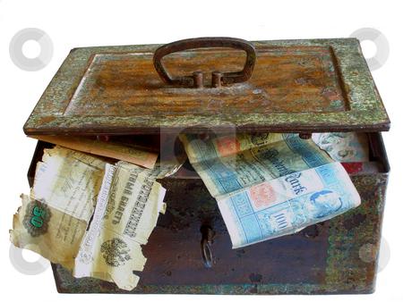 Rusty chest with money stock photo, Old chest full of old money by Sergej Razvodovskij