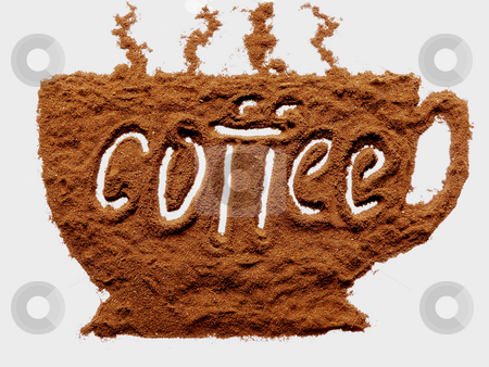 Cup of coffee stock photo, Cup of coffee made from spilled ground coffee by Sergej Razvodovskij