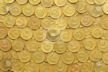 Rows of coins stock photo, Rows of old soviet coins one kopeck value by Sergej Razvodovskij