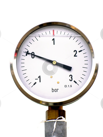 Pressure gauge stock photo, Pressure gauge on the white background by Sergej Razvodovskij