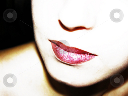 Lips stock photo, Half woman face with redclored lips by Sergej Razvodovskij