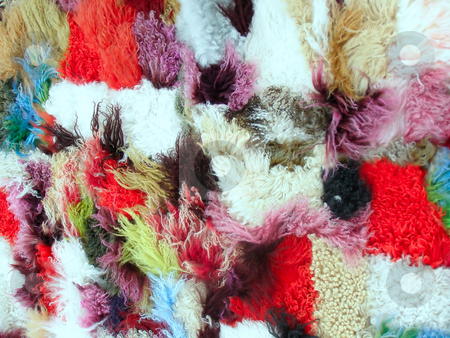 Collored wool stock photo, Carpet from different colored pieces of wool by Sergej Razvodovskij