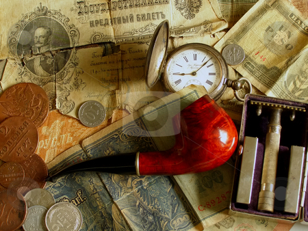 It was once stock photo, Pipe, old money, old clock and old razor by Sergej Razvodovskij