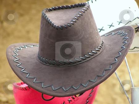 Cowboy's hat stock photo, Cowboy's hat against the sand background by Sergej Razvodovskij