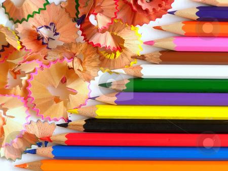 Colored pencils stock photo, Row of edged colored pencils by Sergej Razvodovskij