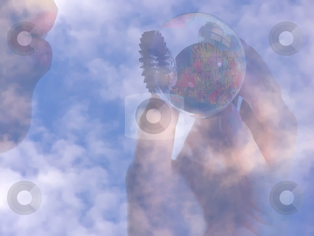 World in your hand stock photo, Globe inside soap bubble by Sergej Razvodovskij