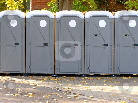 Streets water closets stock photo, Line of the streets water closets by Sergej Razvodovskij