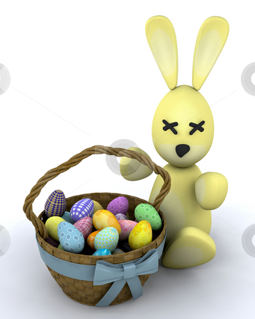 Easter bunny stock photo, Easter bunny with basket of eggs by Kirsty Pargeter