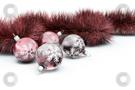 Baubles and tinsel stock photo, 3D render of Christmas baubles and tinsel by Kirsty Pargeter