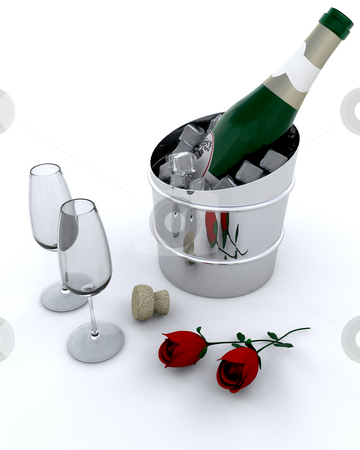 Champagne on ice stock photo, Champagne bottle in ice bucket by Kirsty Pargeter