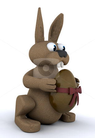 Easter bunny stock photo, Easter bunny holding a chocolate Easter egg by Kirsty Pargeter