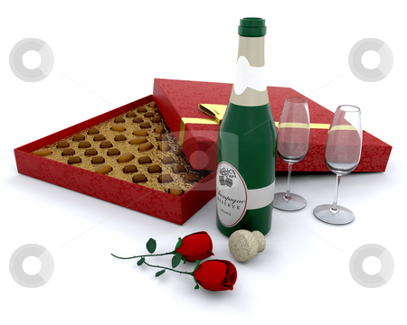 Champagne and chocolates stock photo, Champagne with a box of chocolates and roses by Kirsty Pargeter