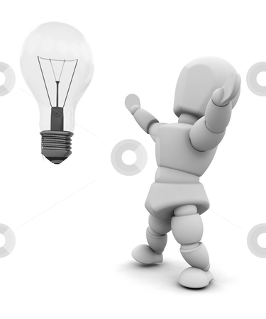 Bright idea stock photo, Person with light bulb by Kirsty Pargeter