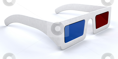 3d movie glasses stock photo, 3d render of a pair of 3d movie cinema glasses by Kirsty Pargeter