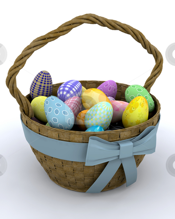 Easter eggs stock photo, Basket of Easter eggs by Kirsty Pargeter