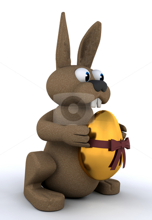 Easter bunny stock photo, Easter bunny holding a golden egg by Kirsty Pargeter
