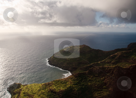 Aerial view of the coastline of Kauai stock photo, View of rocky headlands on coast of Kauai near Na Pali by Steven Heap