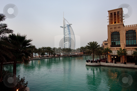 Burj al Arab reflection stock photo, Burj al Arab hotel reflected in lake in Dubai by Steven Heap