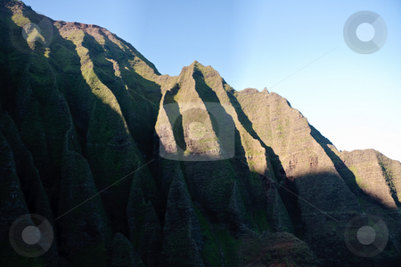 Wrinkled cliff face on Na Pali coast in Kauai stock photo, Na Pali coast line in Kauai in Hawaii by Steven Heap